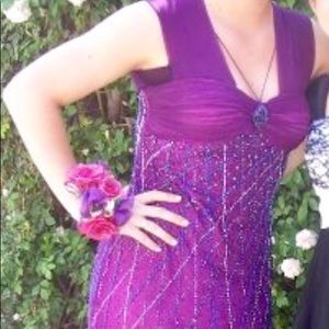 Purple sequence prom dress